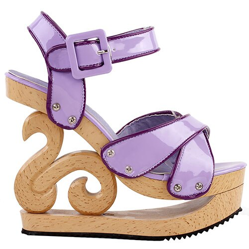 Carved Wood Effect Sandals