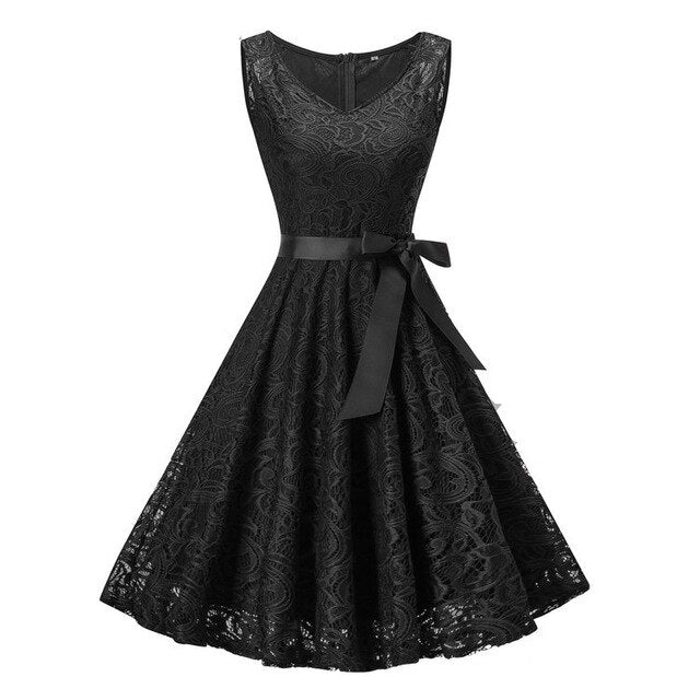 Vintage Floral Lace Party Dress