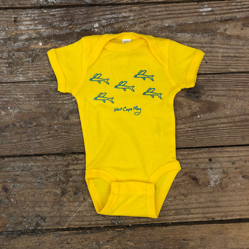 Flying Fish Onesie on Yellow