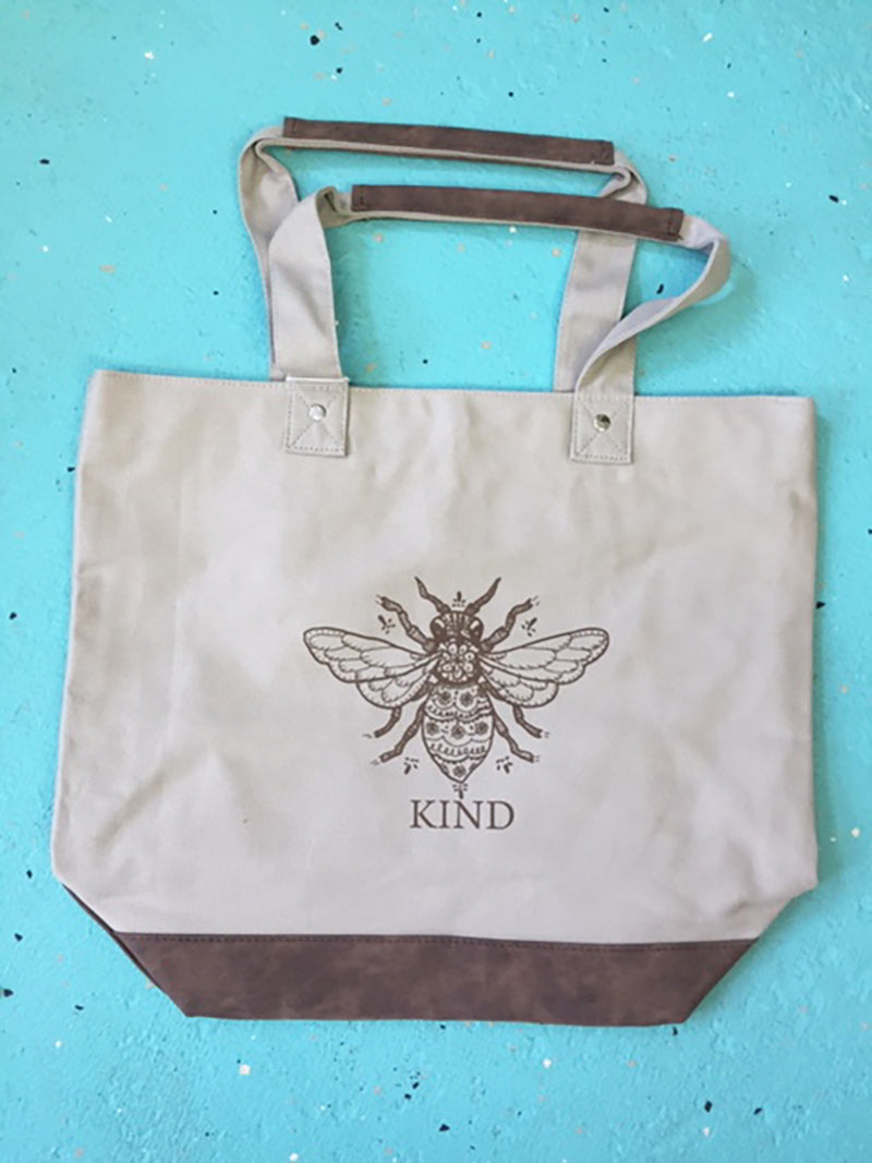 Canvas Resort Tote with Bee Kind