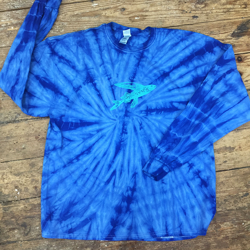 Spider Royal Tie Dye Tee with Turquoise Fish Icon