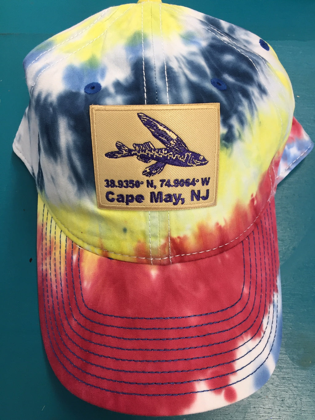 Tie Dyed Flying Fish Patch Hat