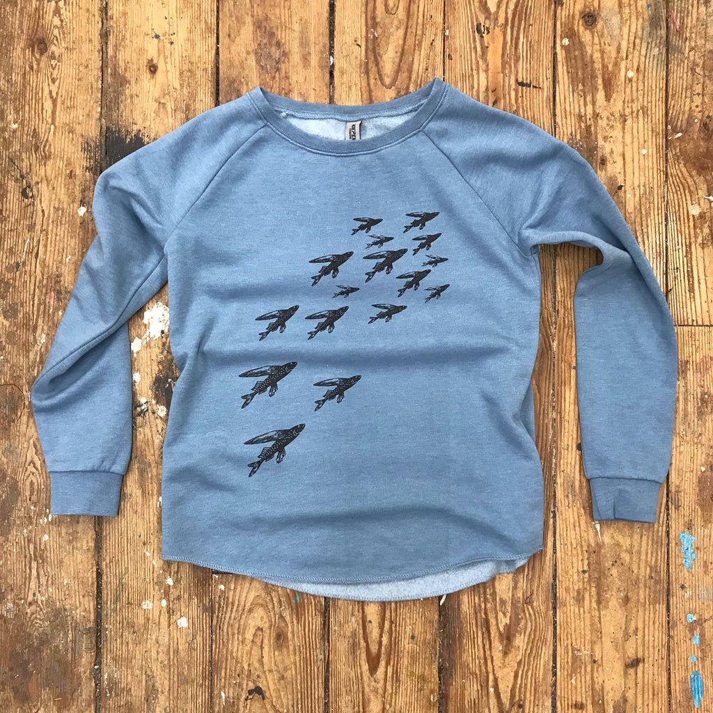 School of Fish on Wave Wash ladies crew sweat in Misty Blue