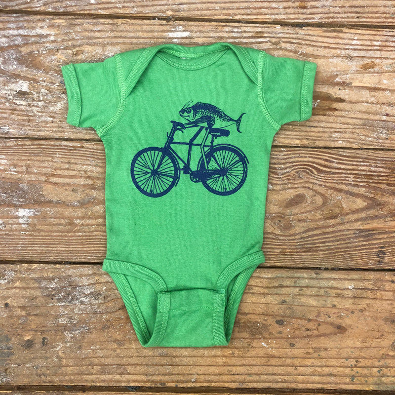 Fish on Bike Onesie on apple green