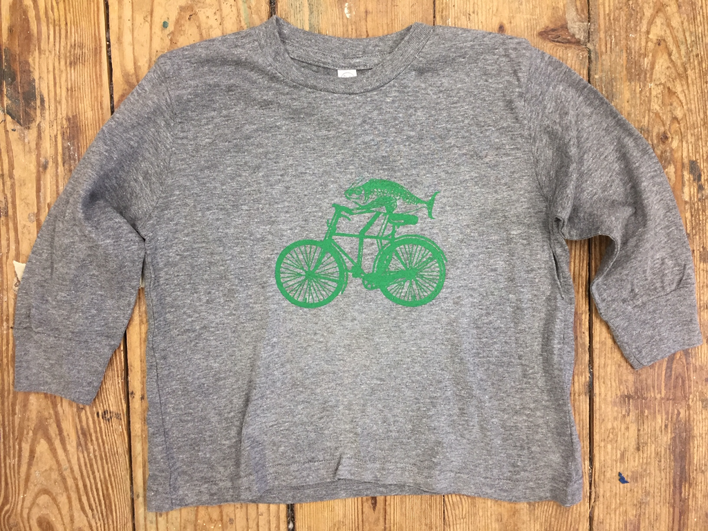 Kid's Long Sleeve Fish on a Bicycle tee