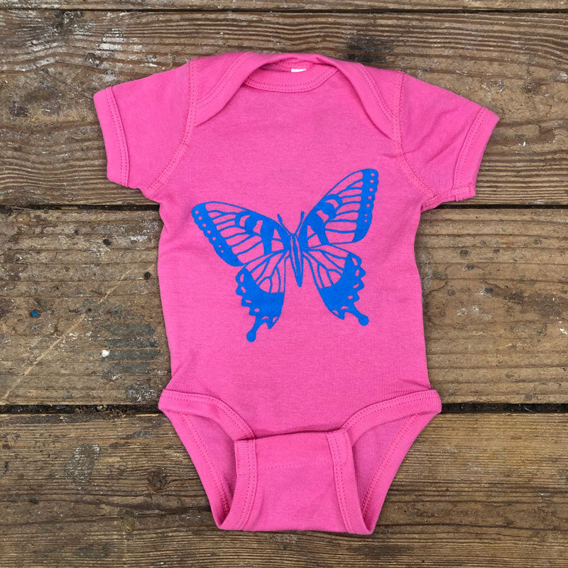 Swallowtail Butterfly Onesie on Pink