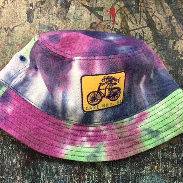 Tie-Dye Bucket Hat with Fish on a Bike Patch