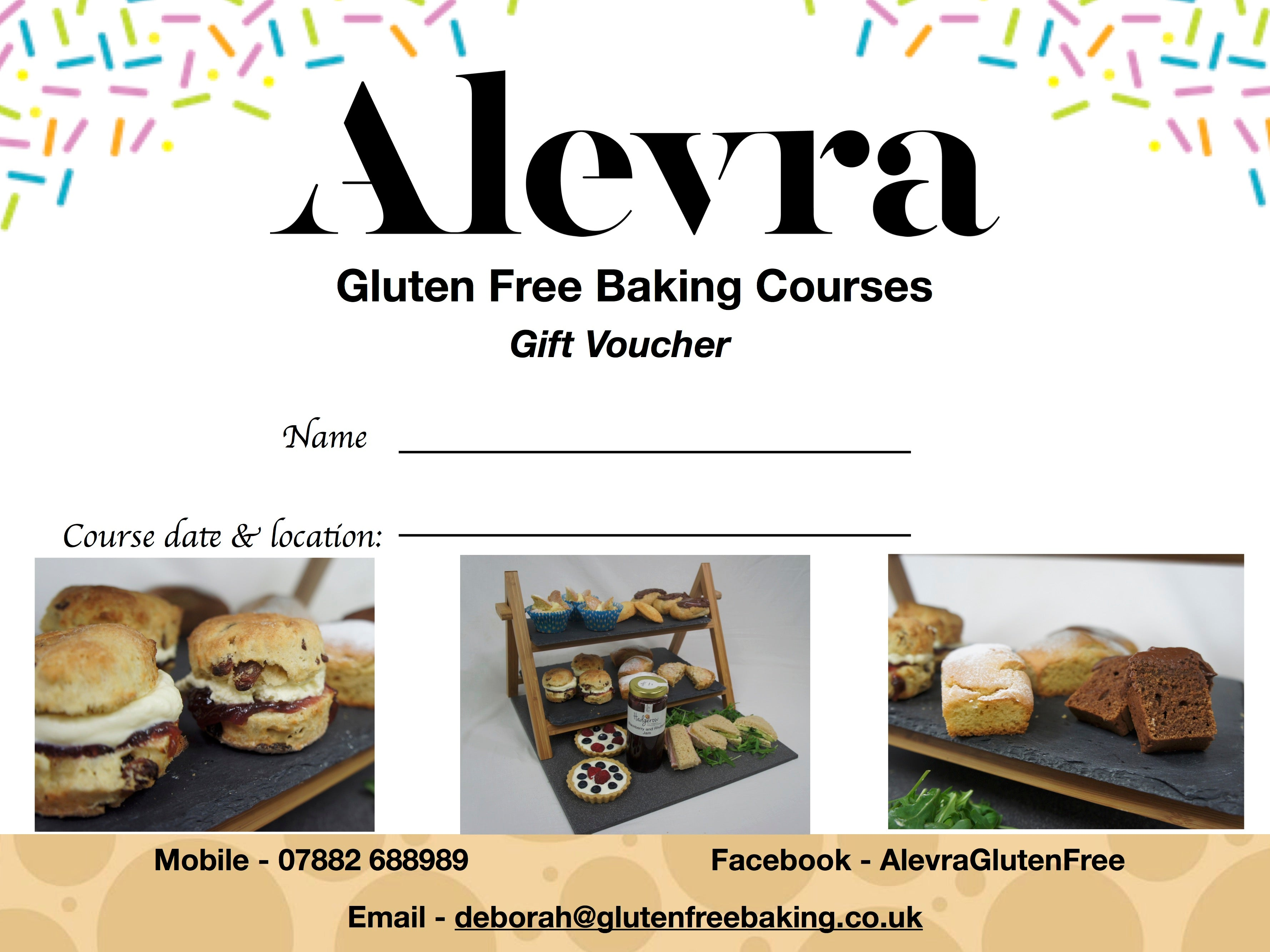Gift Voucher for Gluten Free Baking Course in Harrogate/the Wirral