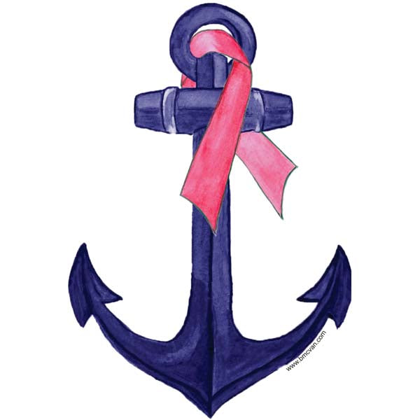 Anchor-Pink Ribbon All Weather Decal