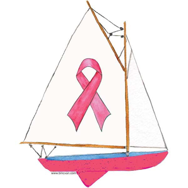 Sailboat-Pink Ribbon All Weather Decal
