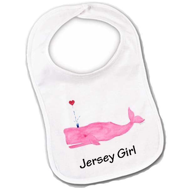 Pink Whale with Heart- Jersey Girl Baby Bibs