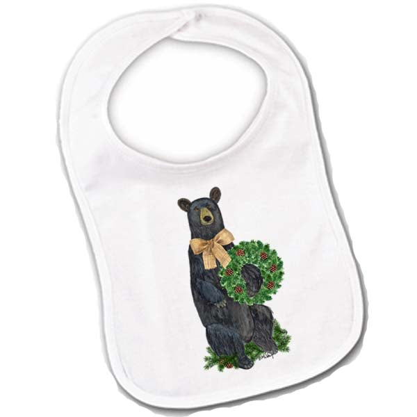 Bear Evergreen Wreath Baby Bib