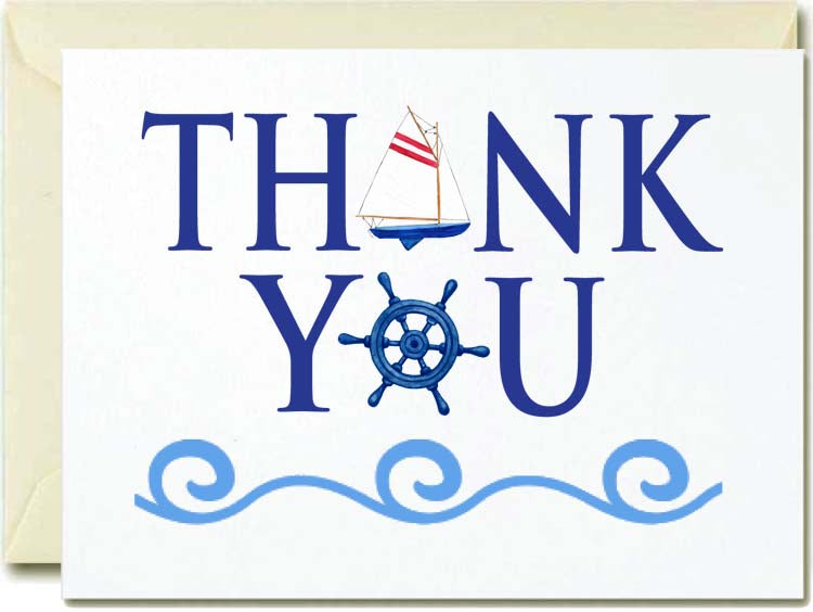 Thank You- Nautical Spelling Boxed Note Cards