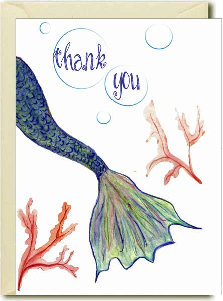 Thank You- Mermaid Tail Boxed Note Cards