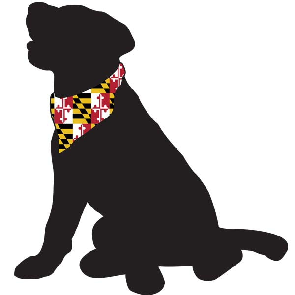 Black Dog with Bandana-MD Flag All Weather Decal