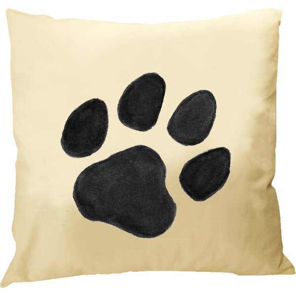 Black Paw Print Pillow