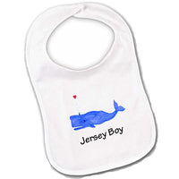Blue Whale with Heart- Jersey Boy Baby Bibs