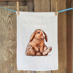 Brown Bunny Seated Flour Sack Towel