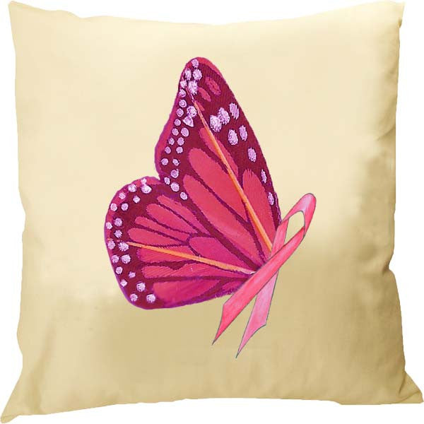 Pink Ribbon Butterfly Pillow