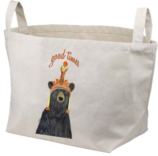 Good Times Bear Canvas Basket