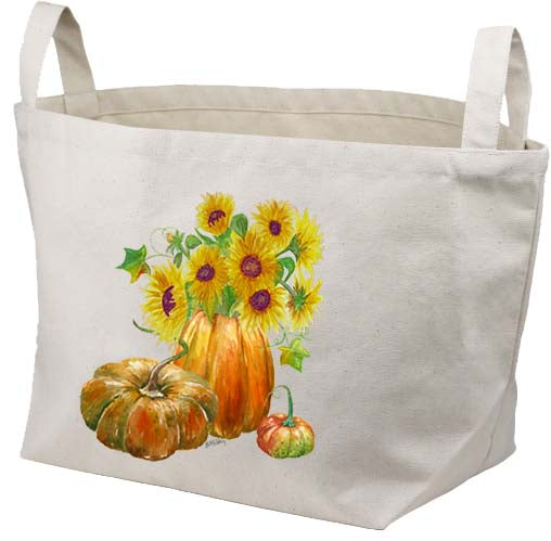 Pumpkin Sunflowers Canvas Basket