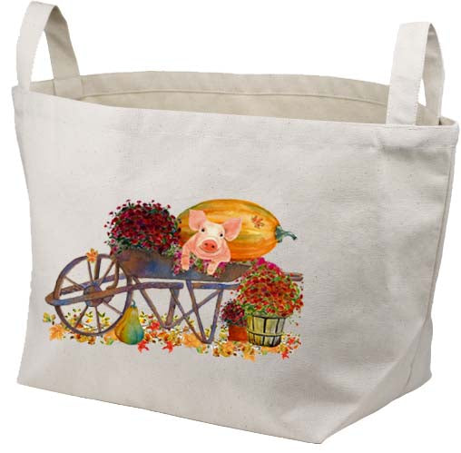 Piglet In Wheelbarrow Canvas Basket