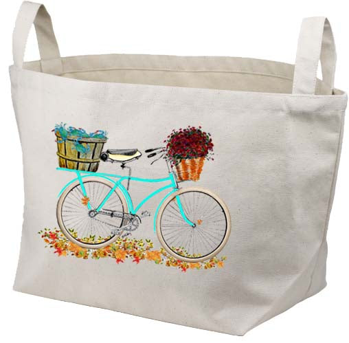 Teal Bike Bushel of Crabs Canvas Basket