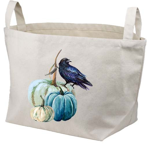 Raven on Pumpkin Canvas Basket