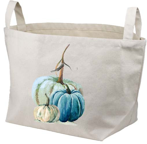 Blue Green Pumpkin Canvas Basket