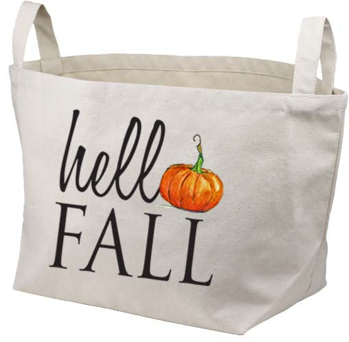 Hello Fall Pumpkin Canvas Basket