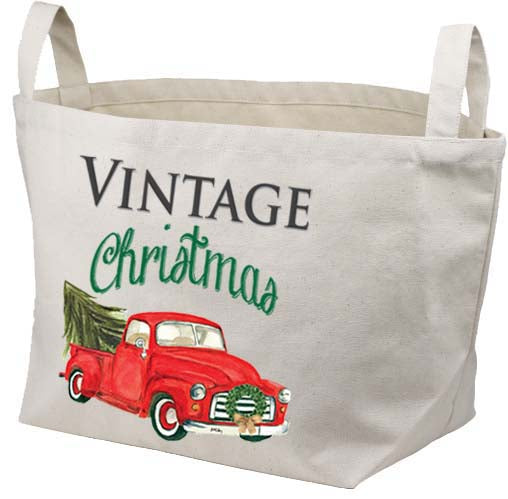 Red Truck-Vintage Christmas Canvas Basket