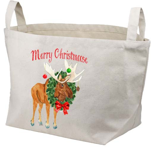 Merry Christmoose Canvas Basket