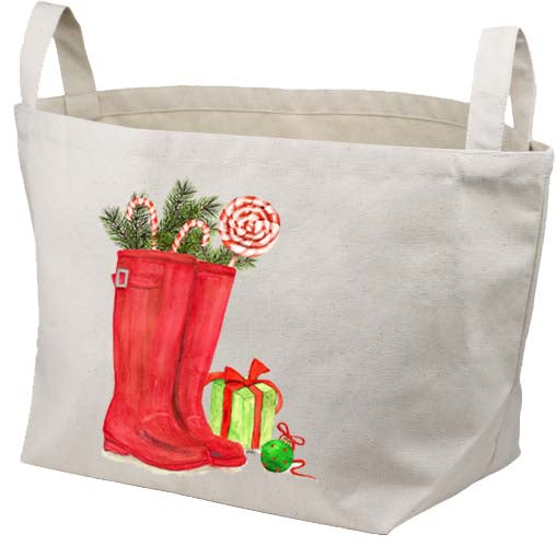 Red Wellies Candy Canes Canvas Basket