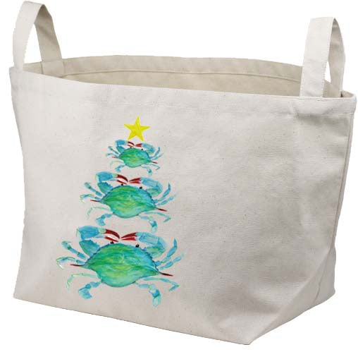 Crab Christmas Tree Canvas Basket