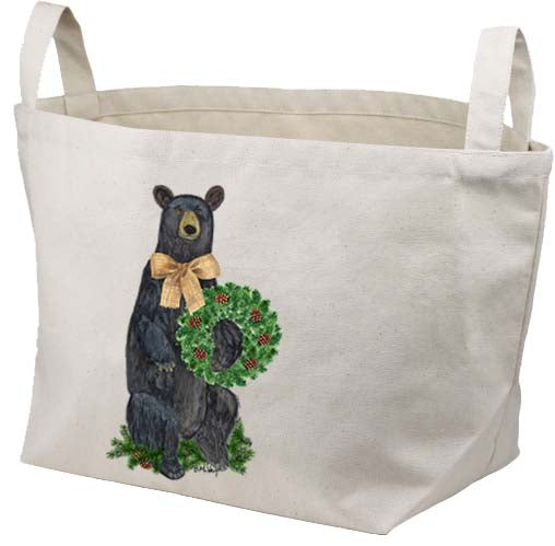 Bear Evergreen Wreath Canvas Basket