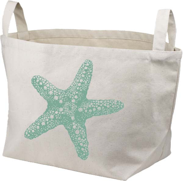 Blue Starfish Canvas Basket