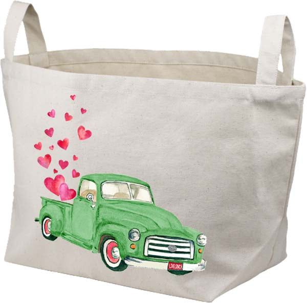 Green Truck Hearts Canvas Basket