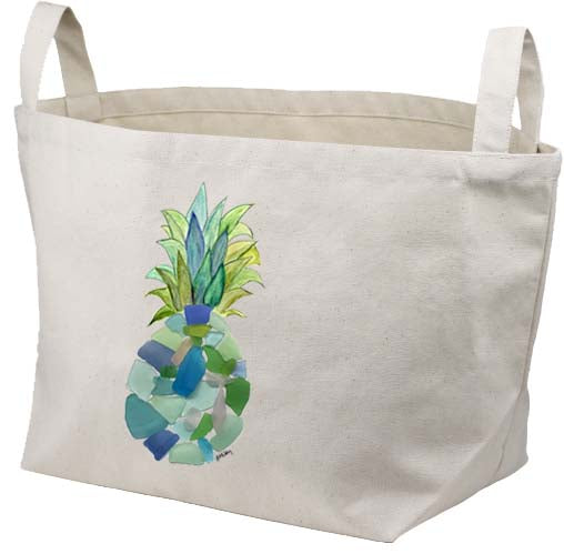 Sea Glass Pineapple Canvas Basket