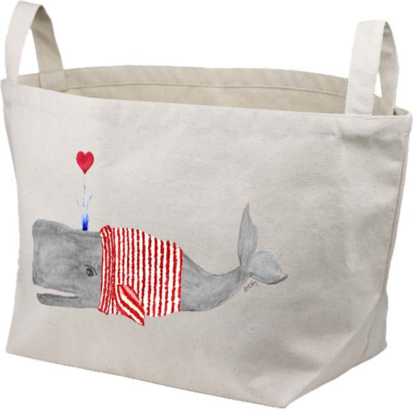 Lovely Whale Sweater Canvas Basket
