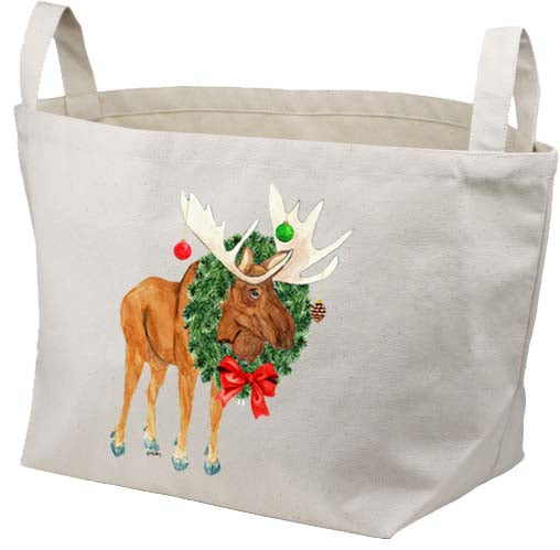 Moose Ornaments Canvas Basket