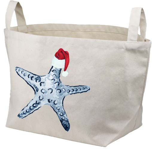 Starfish Blue Santa Hat Canvas Basket