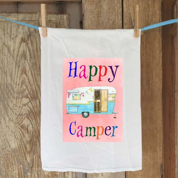Happy Camper Flour Sack Towel