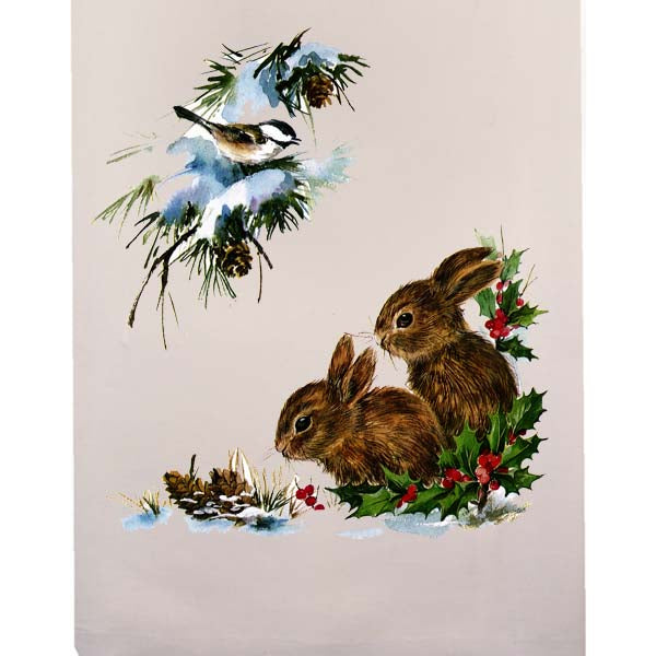 Christmas Bunnies Fingertip Towel