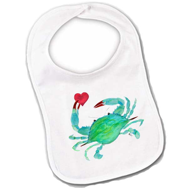 Crab with Heart Baby Bibs