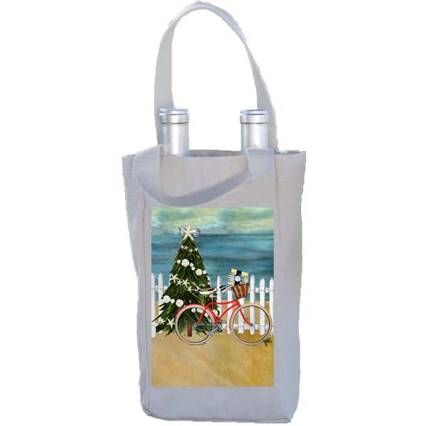Red Bike Picket Fence Christmas Double Wine Bottle Tote Bag