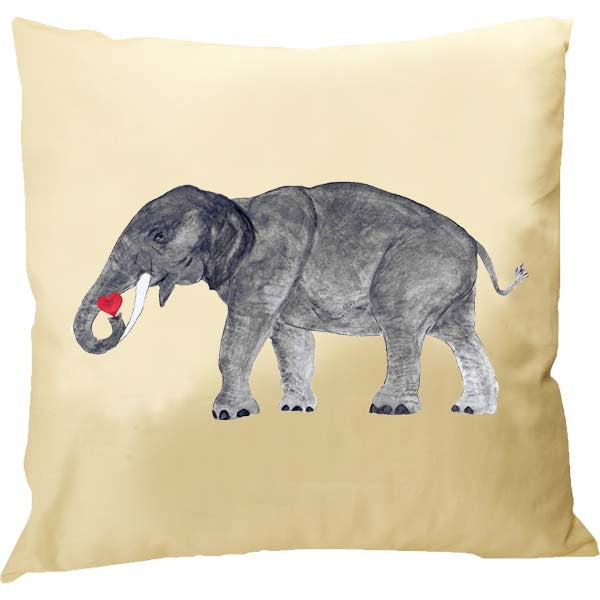 Elephant with Heart Pillow