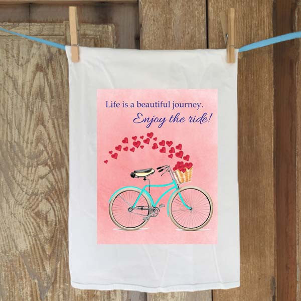 Teal Bike - Enjoy the Ride Flour Sack Towel