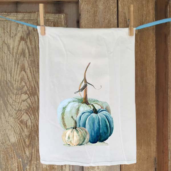 Blue-Green Pumpkin Flour Sack Towel