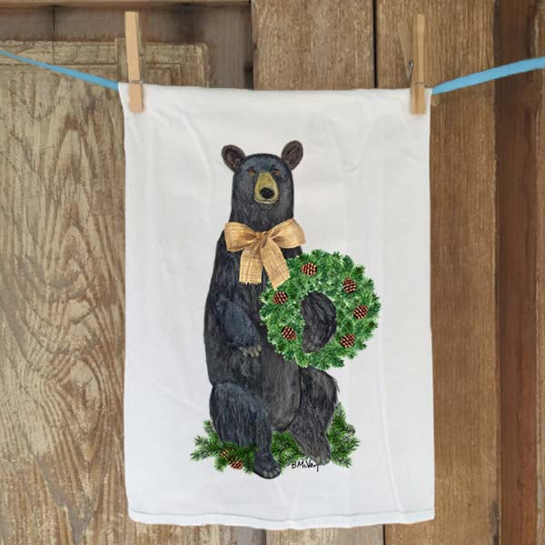 Bear Evergreen Wreath Flour Sack Towel