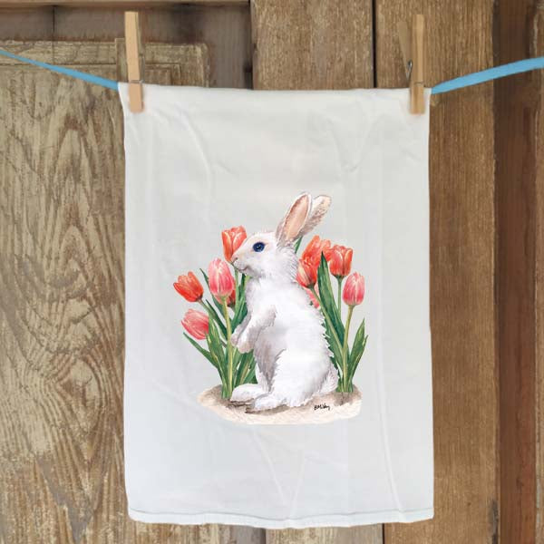 White Bunny with Tulips  Flour Sack Towel